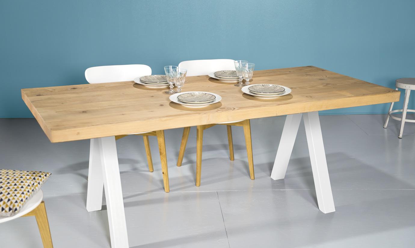 impressionnant pied de table en bois massif 4 table sur mesure - Pied De Table En Bois Massif